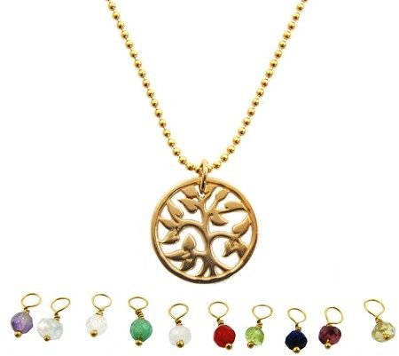geboortesteen ketting goud tree of life 90,00