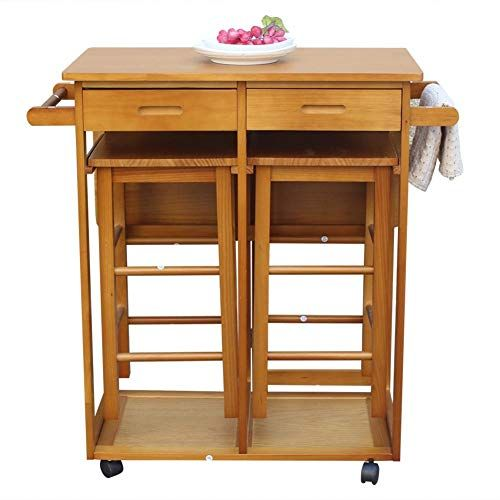 All Green Products Foldable Dining Cart With Square Stools Brown Without Handle For Kitchen Di Kitchen Island Table Mobile Kitchen Island Wood Dining Table