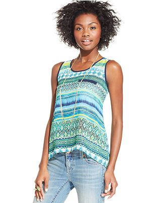 BCX Sleeveless Printed High-Low Top - Juniors Tops - Macy's
