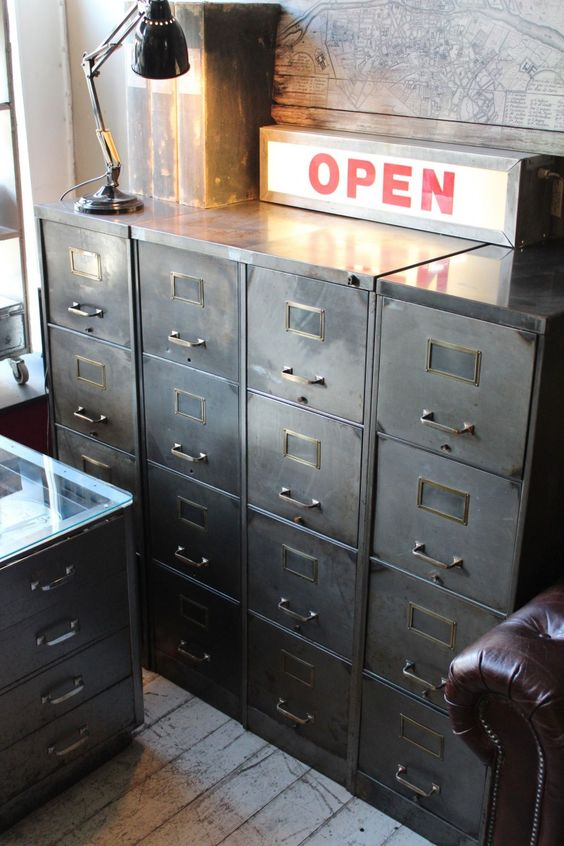 attic - 1930's Steel 4 drawer filing cabinet
