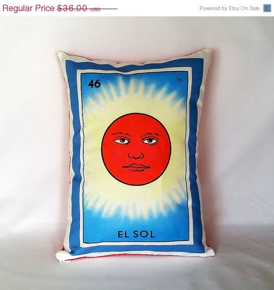 EARTH DAY SALE / El Sol Sun Loteria Pillow by PillowandPocket, $32.40