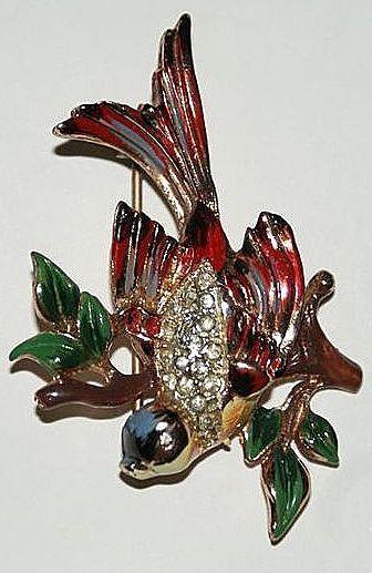 Sold - Coro Craft  Sterling  Enamel Bird Pin/Brooch 1940's