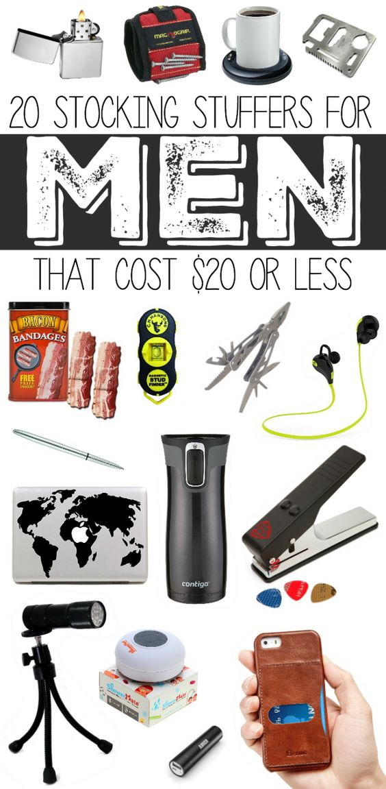 20 Stocking Stuffers for Men that Cost $20 or less...so many great gift ideas for guys who are techy, outdoorsy, those who like to build things, and guys who like bacon.