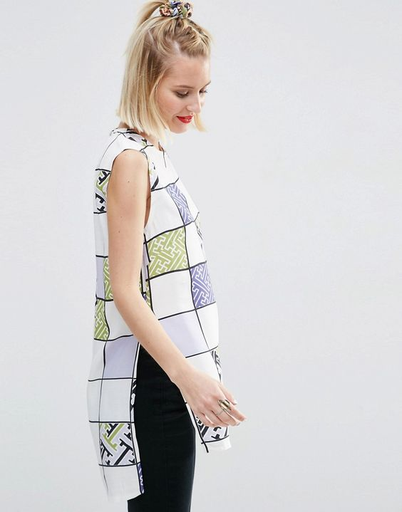 Image 1 ofASOS AFRICA x Chichia Sleeveless Tunic in Grid Print
