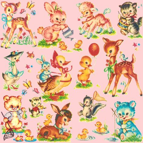 Favorite pink vintage baby animals paris bebe fabric by for Retro baby fabric