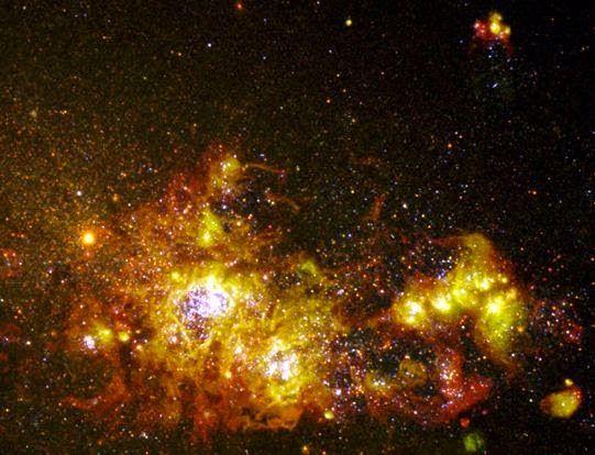 Exibe deslumbrantes de formação de estrelas são abundantes em toda a face da galáxia NGC 4214, apenas 13 milhões de anos-luz de distância na constelação de Canes Venatici norte.  Embora esta imagem do telescópio espacial Hubble 1997 mostra a numerosos fraco, as estrelas mais antigas do NGC 4214, a maioria dos recursos atraentes são aglomerados jovens brilhantes da galáxia estrelas, rodeado por fluorescentes nuvens de gás.  #CMistériosBlog #ACPlanetas