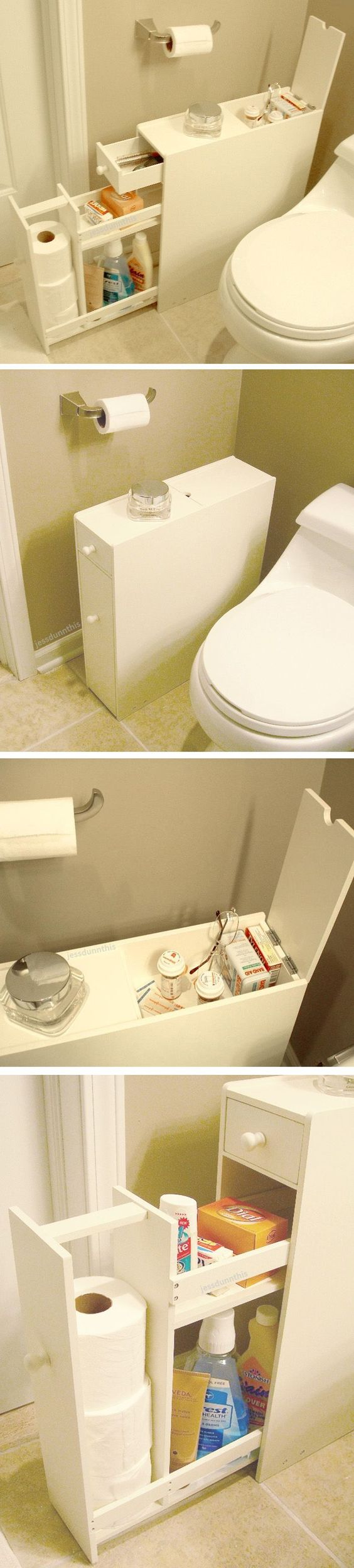 Bathroom space saver floor cabinet // stores up to 12 rolls of toilet paper and fits beside the closet - brilliant idea! #product_design: