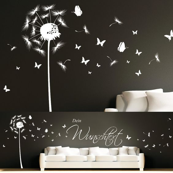 Wandtattoo Wandaufkleber Pusteblume Schmetterling