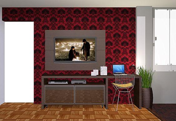 Sala de TV / Estar - vista do painel da televisão.   Além da televisão e os demais componentes eletrônicos, o desenho do raque permitiu uma bancada para apoio de um computador portátil.