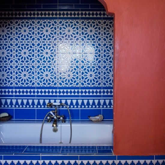 Blau spanisch inspirierte Badezimmer Wohnideen Badezimmer Living Ideas Bathroom