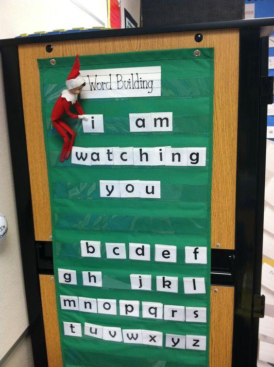 Classroom Elf Ideas ~ Elf on the shelf in classroom