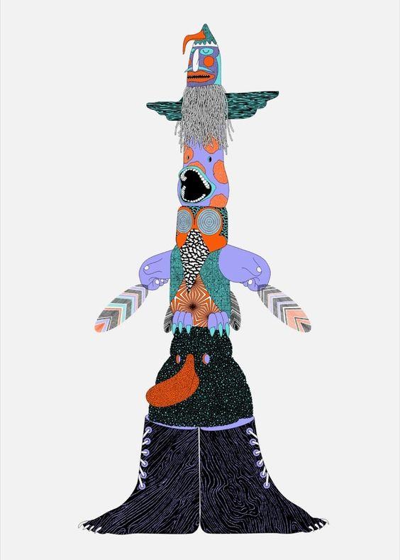 Kustaa Saksi totem illustration // http://www.dutchuncle.co.uk/kustaa-saksi-images/