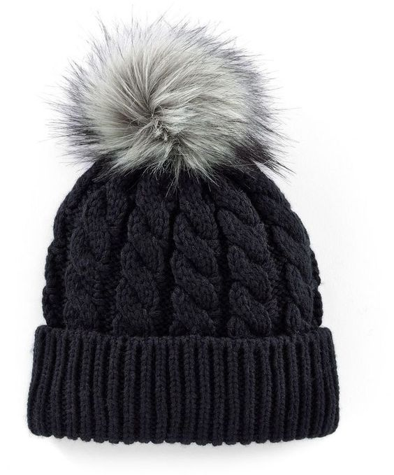 $14 Madden Girl Faux-Fur Pom-Pom Cable-Knit Beanie Hat