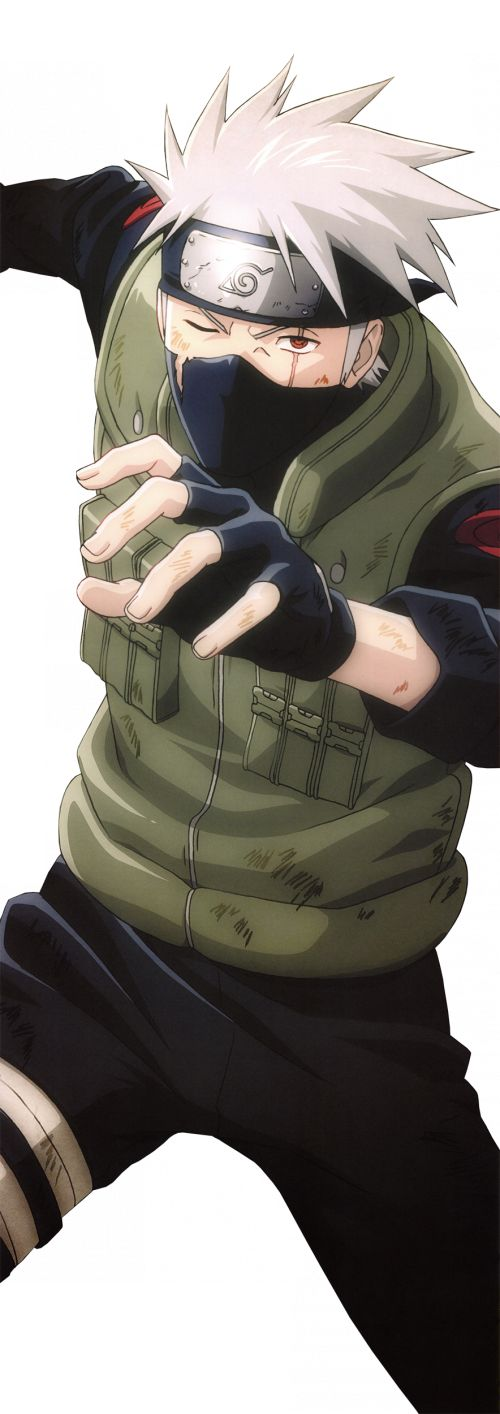 Hatake Kakashi lookinh all beat up and what not.