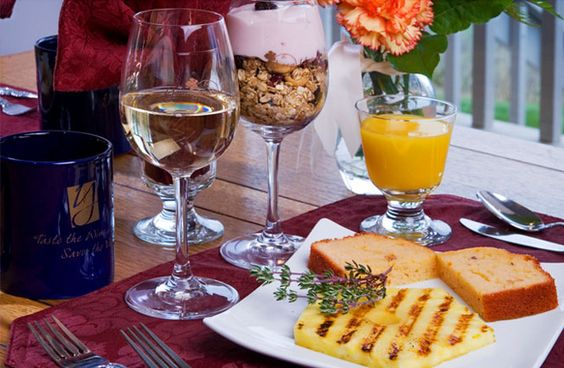 Youngberg Hill Vineyards & Inn creates a 2 course gourmet breakfast each morning focusing on regional food and products.