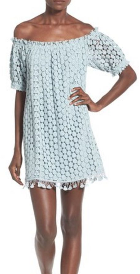 Light Blue Off-the-Shoulder Sack Dress