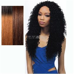 """Batik Duo Dominican Curly 18""""20""""22"""" - Color DRB30/4 - Synthetic (Curling Iron Safe) Weaving - 2-Way Invisible Part - 4 pcs + closure"""