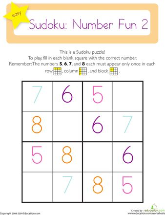 math worksheet : easy sudoku puzzle  sudoku puzzles worksheets and puzzles : Kindergarten Puzzle Worksheets