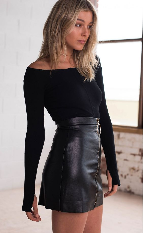 Punk Short Black Pencil Skirt