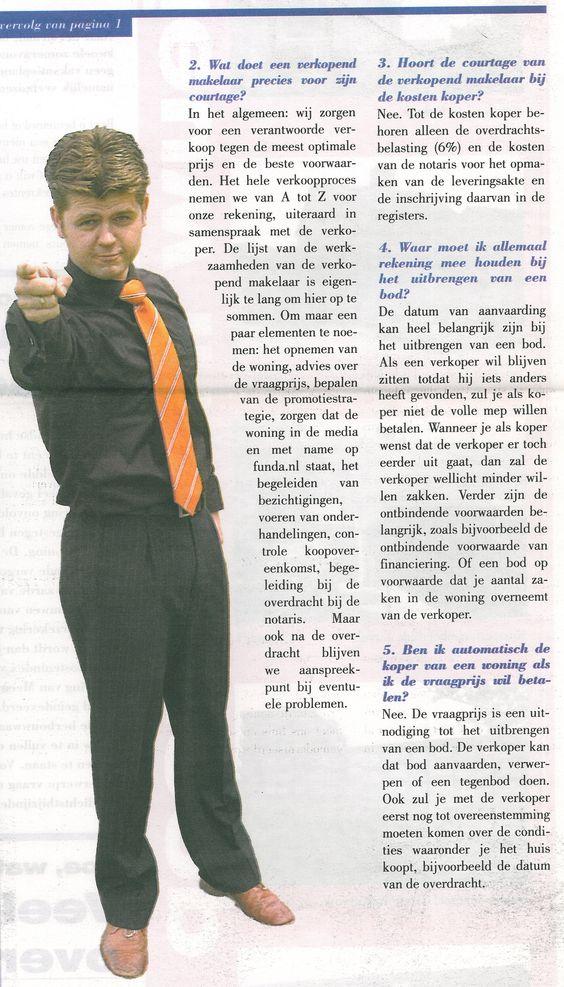 Rubriek, vragen aan de makelaar uit de Meeùs krant van juni 2005. Dat waren nog eens tijden!