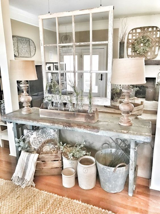 Living Room - Bless This Nest Farmhouse decor. Chippy Window as a room divider