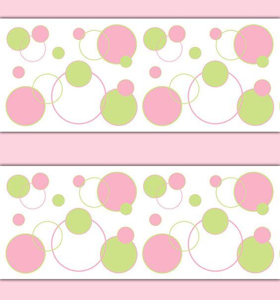 Pink and green polka dot circle wallpaper border wall art decals for