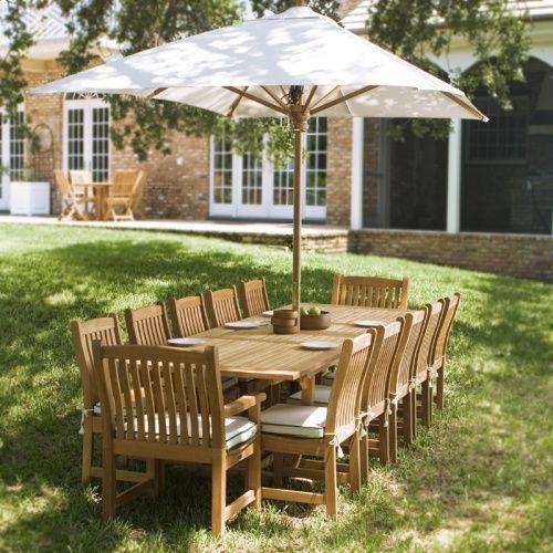 13 Pc Grand Veranda Teak Dining Set Westminster Teak Outdoor Furniture Style Teak Outdoor Furniture Teak Furniture Set