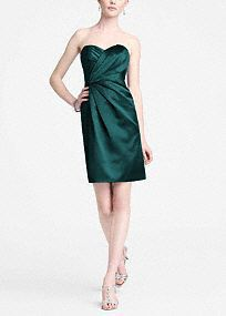 Sleek and very fashionable, this is the perfect dress for your bridal party!  Strapless bodice features ultra feminine and chic sweetheart neckline.  Pleated detail adds dimention and creates a flattering figure.  Fully lined. Back zip. Imported polyester. Dry clean.