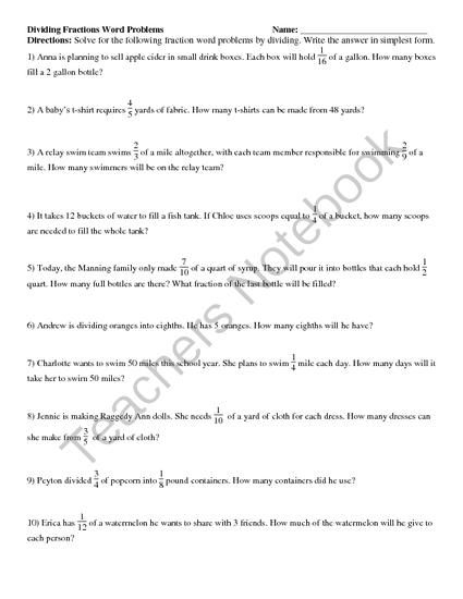 math worksheet : dividing fractions and whole numbers word problems from reincke15  : Division Fraction Word Problems Worksheets