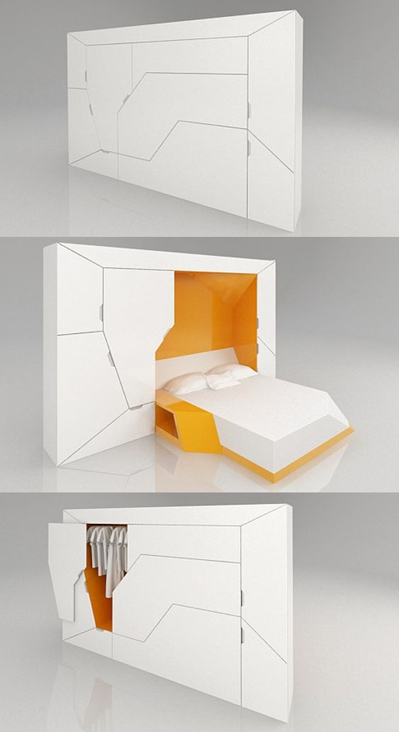 Boxetti Private by Rolands Landsbergs. A modular bedroom that includes a double bed, a bedside table, and a wardrobe. Best of all, it can be controlled with a remote control. The full Boxetti collection also includes a foldable kitchen, a living room, and a study desk. http://www.hongkiat.com/blog/creative-furniture-designs/: