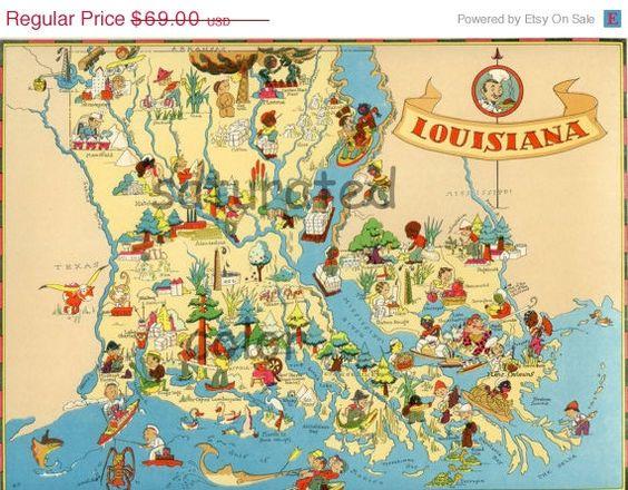 Louisiana Map ORIGINAL Vintage S Maps Pinterest S - Louisiana map
