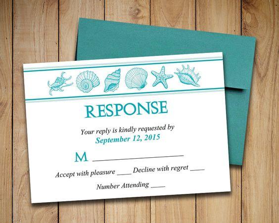 Beach Wedding RSVP Template Seashell Response Card Coastal – Etsy Beach Wedding Invitations