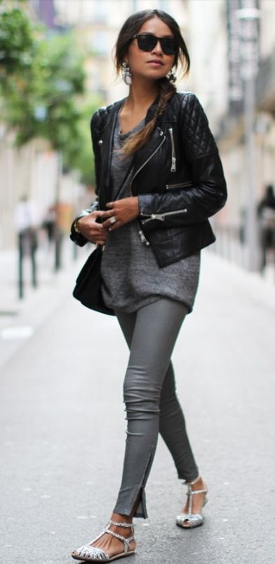 Coated dark grey jeans, and love this leather jacket!
