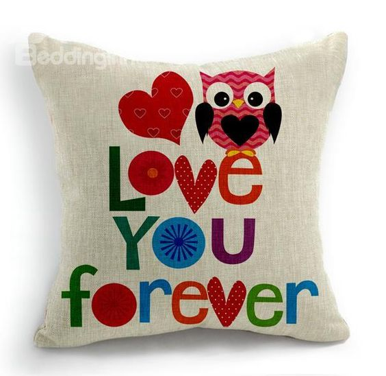 New Arrival Cute Love You Forever Letters Print Throw Pillow  @bedding inn