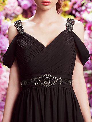 TSクチュールフォーマルなイブニングドレス - 黒ラインVネックコート列車シフォン | LightInTheBox