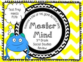 I have been on a mission to create a FUN and ENGAGING way to have my students review for the upcoming GA Milestone test and I believe I have found the answer...MASTER MIND!!!!I wanted my class to have a quick and easy center/partner game/ game to do with their family that would keep the 3rd Grade Georgia Performance Standards for Social Studies fresh in their brains!