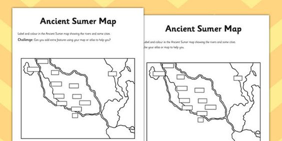 Ancient Sumer Location And Era Map Activity Mesopotamia