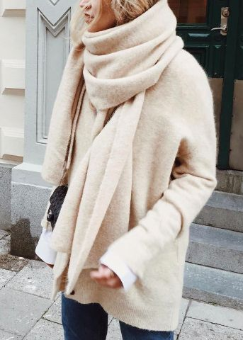 oversized sweater + scarf: