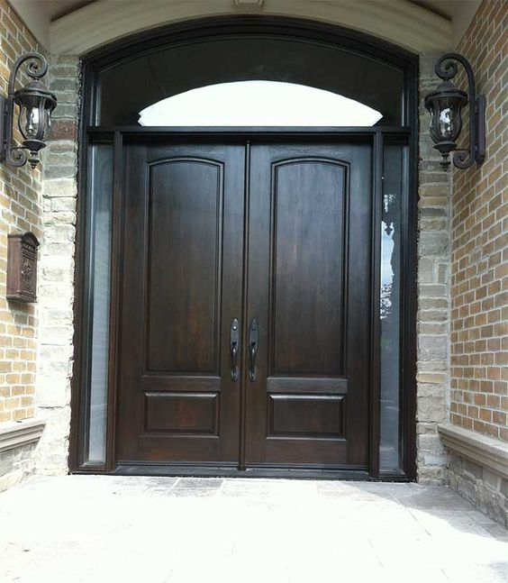Arched exterior double doors exterior door woodgrain for Double door with side windows