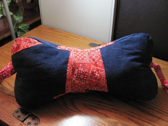 neck pillow dog bone shaped red bandana on denim by OnyxHillGifts
