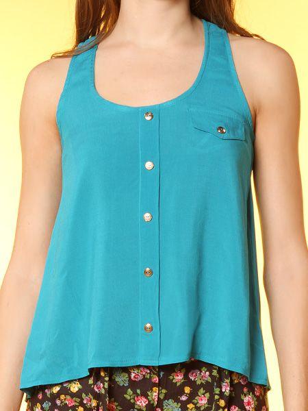 Papaya Clothing Online :: BUTTON-TRIM SLEEVELESS DRESSY TOP US$16.99