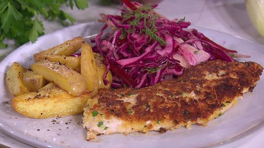 Donal Skehan's Turkey Schnitzel is a tasty seasonal dish that makes a great mid-week meal. Serve with shredded winter salad.