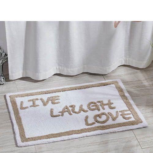 Live Love Laugh Bath Mat Plush Cotton Pile Rug Live Laugh Love