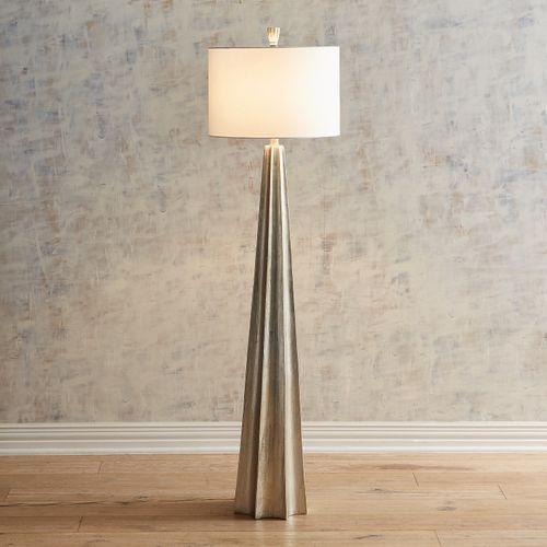 Elegant Champagne Floor Lamp With Flared Base Floor Lamp Lamp Traditional Floor Lamps