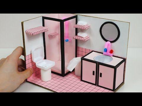 Diy Miniature Dollhouse For Barbie How To Make A Pink Bathroom