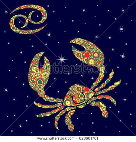 Zodiac sign Cancer with colorful flowers fill in warm hues on a background of the blue starry sky, vector illustration