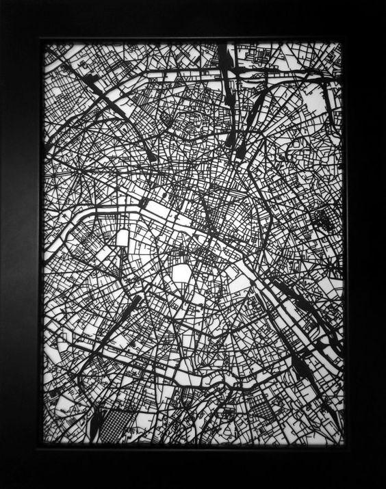 Paris France laser cut street map minimalist modern art custom – Streetmap France