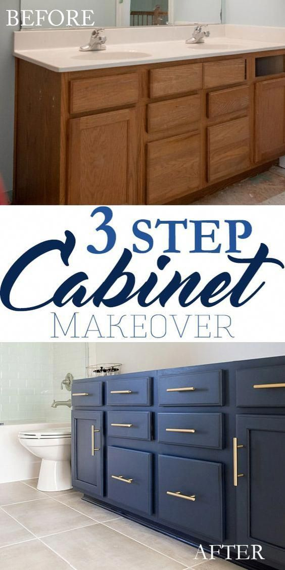3 Step Bathroom Vanity Makeover Yes This Cabinet Took Only 3 Simple Steps To Go From Builder Grader To Wow This Navy Blue Vanity Bathroom Vanity Bathroom Vanity Makeover Blue Vanity Bathroom Kids