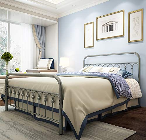 Metal Bed Frame Queen Size With Vintage, Wrought Iron Queen Platform Bed