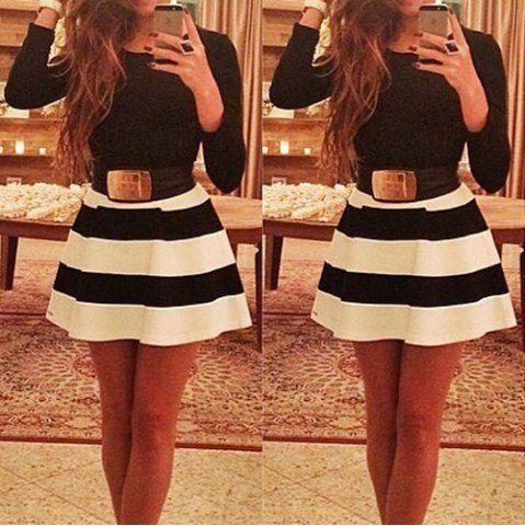 Simple Scoop Neck Long Sleeve Color Block Striped Women's Dress